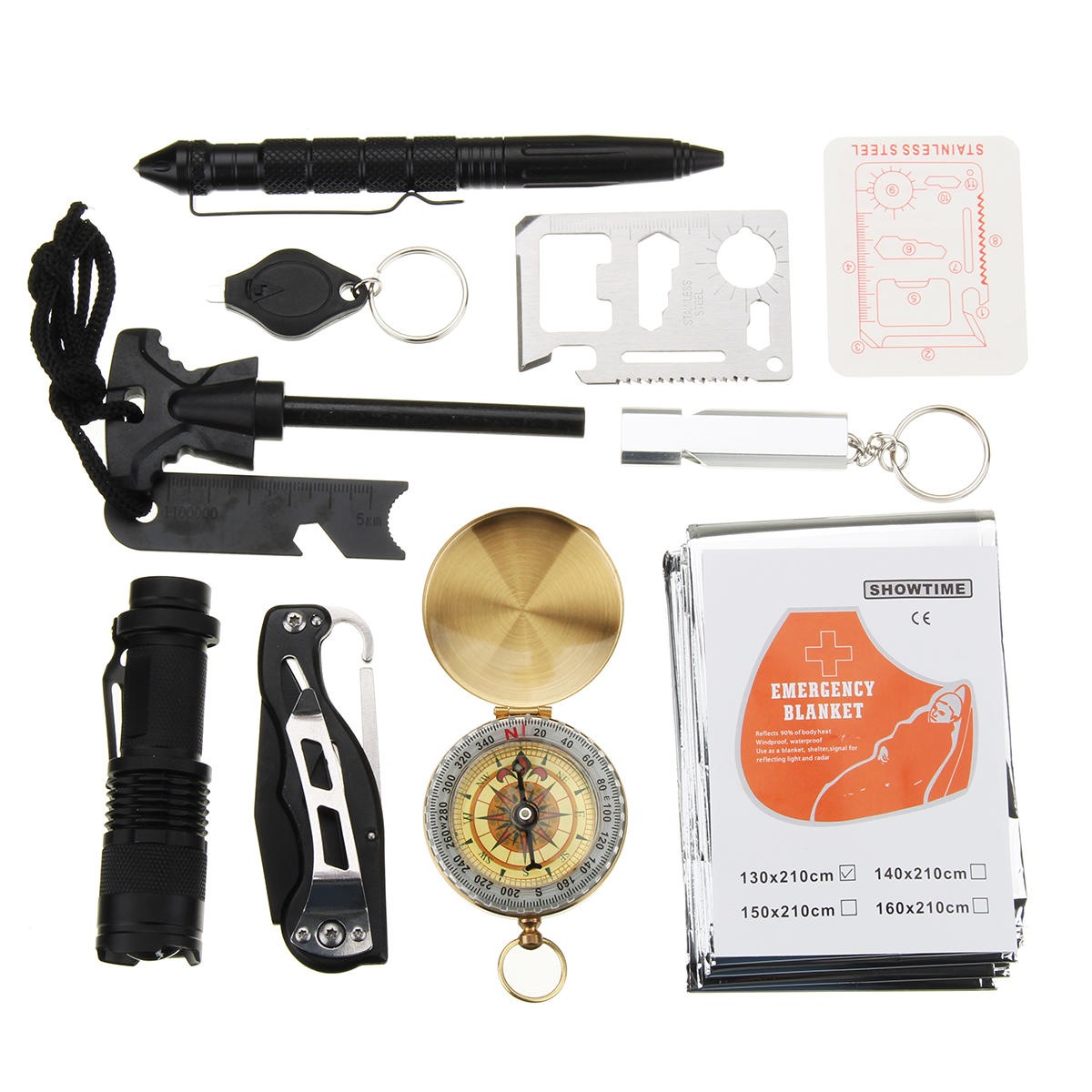 10 In 1 SOS Emergency Survival Equipment Kit Gear Tools Outdoor Tactical Hiking Camping