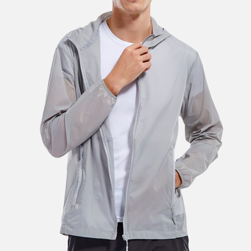 Mens Sports Breathable Solid Color Waterproof Loose Thin Outdoor Coats