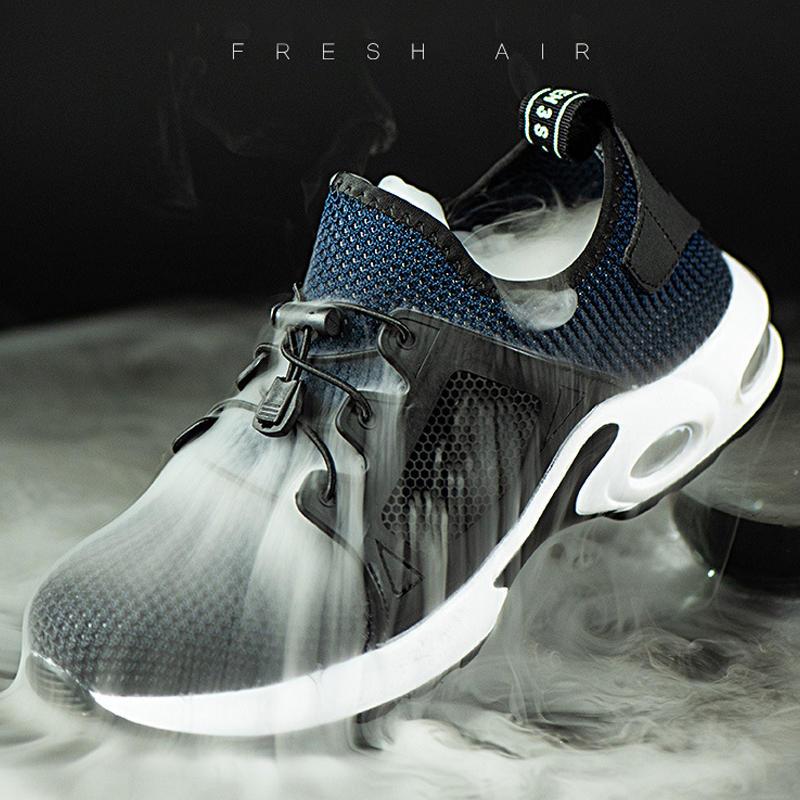 पुरुषों स्टील पैर की अंगुली सांस विरोधी पर्ची पंचर सबूत हल्के सुरक्षा कार्य जूते