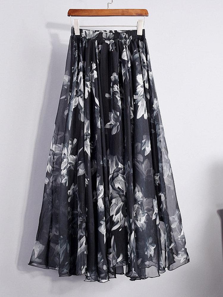 Elegante Mulheres Chiffon Floral Printed Elastic Waist Maxi Saias
