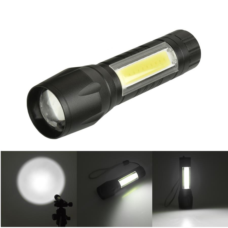 XANES 1517 XPE+COB 1000Lumens 4Modes 2Lights Brightness EDC Tactical LED  Flashlight