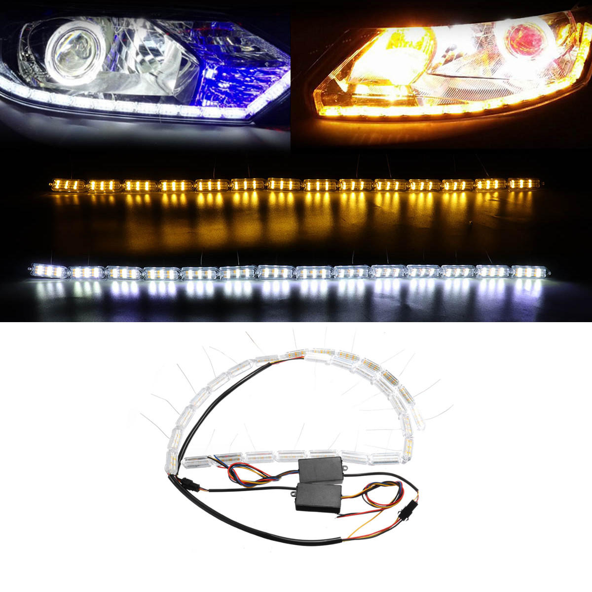 TASWK 2Pcs Motorcycle LED Double Indicator Lights Turn Signals Amber and Blue