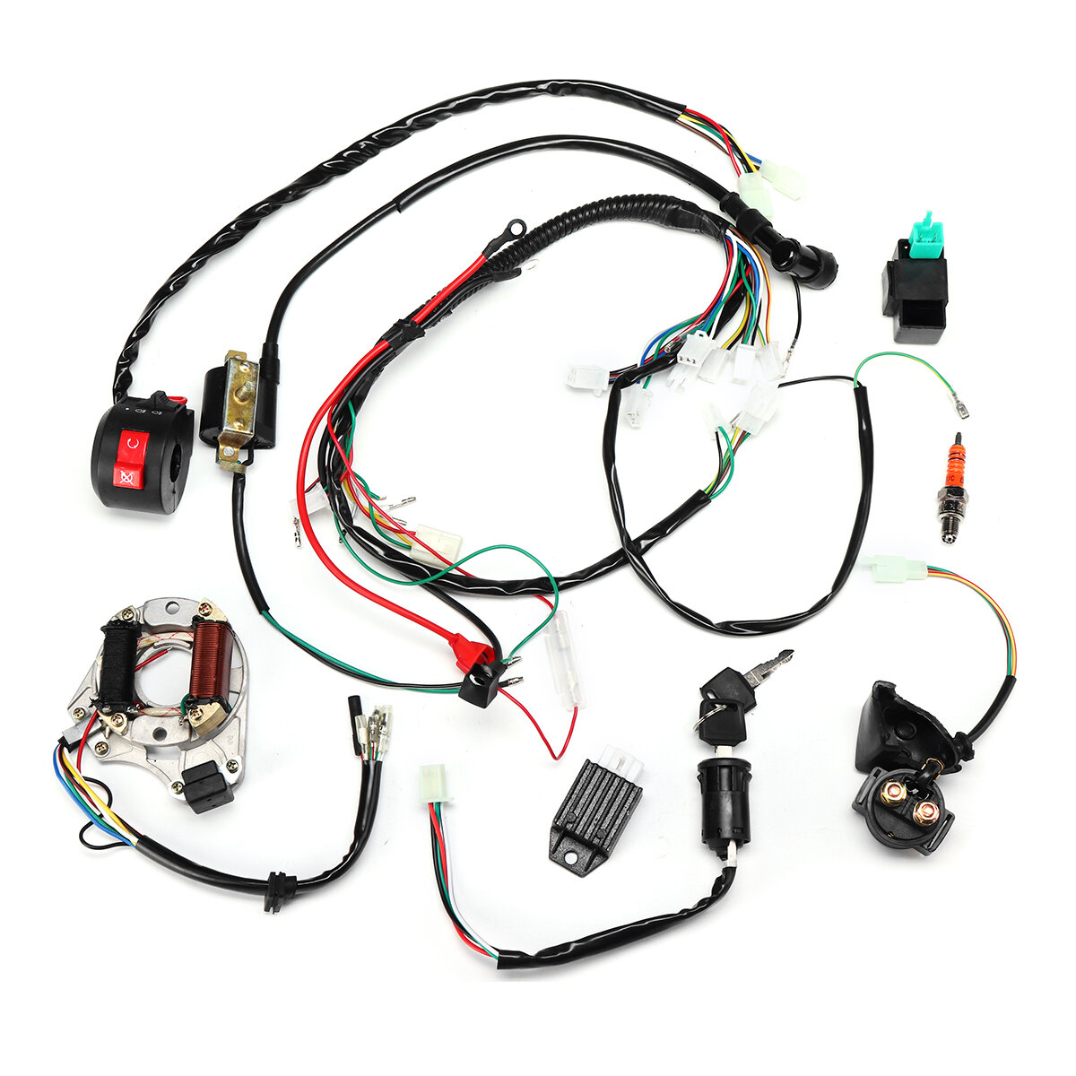 50cc 70cc 90cc 110cc Ignition Wiring Harness Kit embly ATV Quad Electric Ignition Wire Harness on