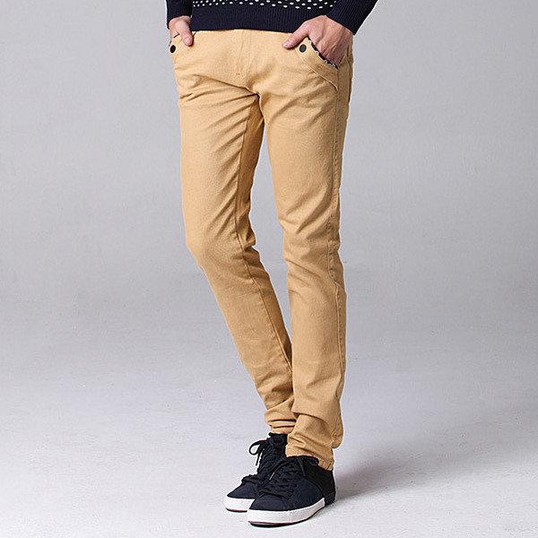גודל גדול 30-44 אופנה קוריאנית מקרית סטרייט סלים מכנסיים גברים של צבע מלא מכנסיים