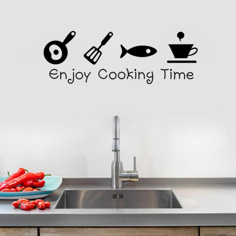 Мультфильм Enjoy Кулинария Кухонная стикер стены ПВХ Mural Художественные наклейки Наклейки Фон Домашний декор