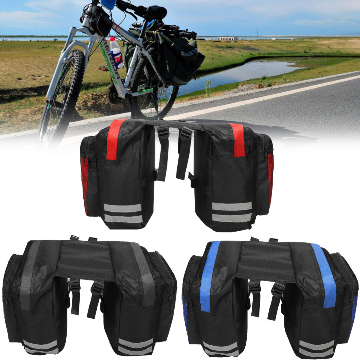600D 20L Bicycle Rear Rack Seat Saddle Bag Cycling Bike Pannier Tail Pack Pouch