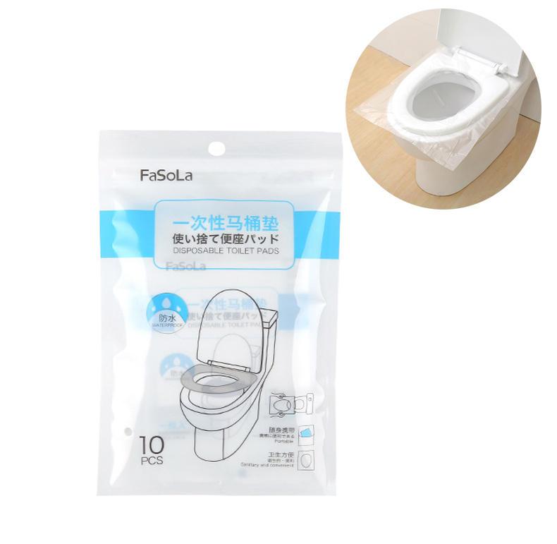 IPRee® 10 Pcs Disposable Toilet Seat Cover Maternal PE Membrane Transparent Travel Toilet Pad Paper Padded Cushion Paper