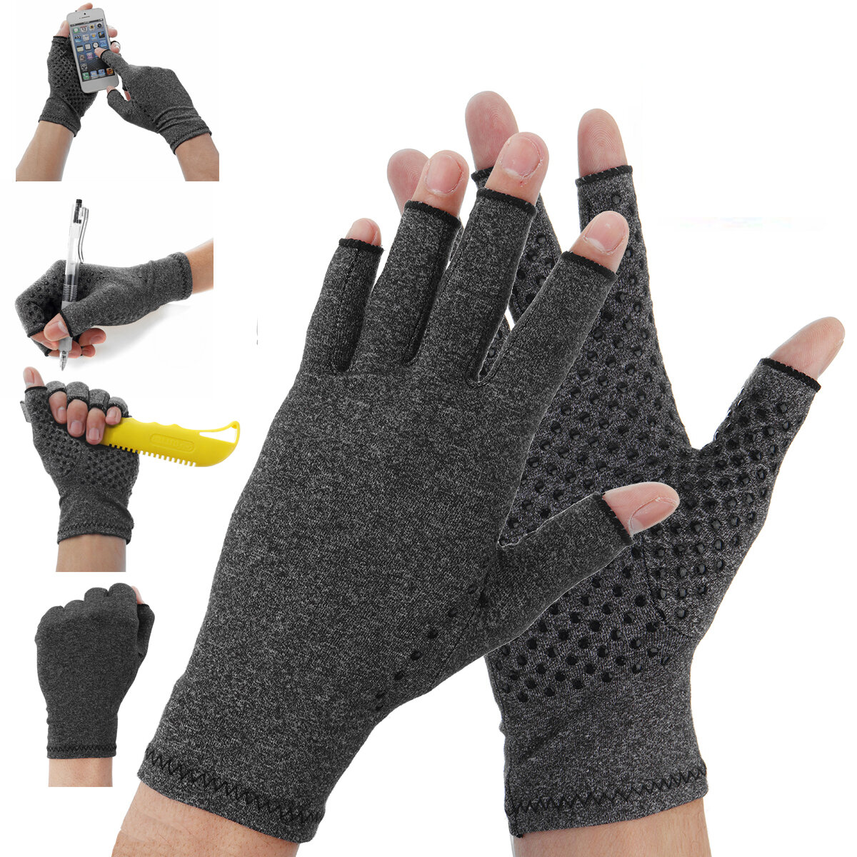 1 Pair Anti Arthritis Gloves Ease Pain Relief Compression Gloves Hand Support Outdoor Fitness Half Finger Gloves