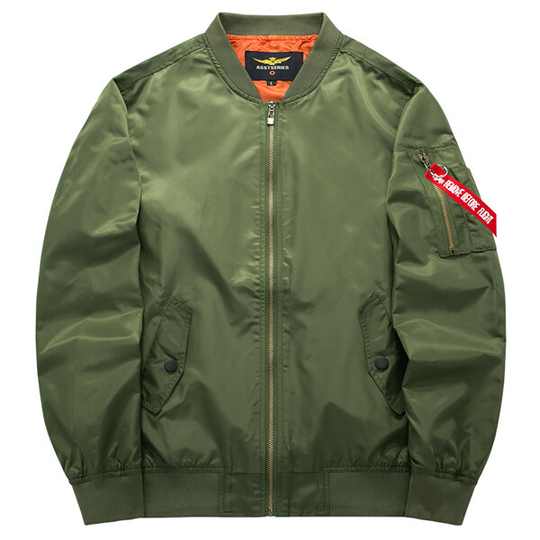 0f017c90 ASSTSERIES Mens Spring Autumn Casual Sport Flight Jacket Pure Color Bomber  Jacket Big Size - Red M COD