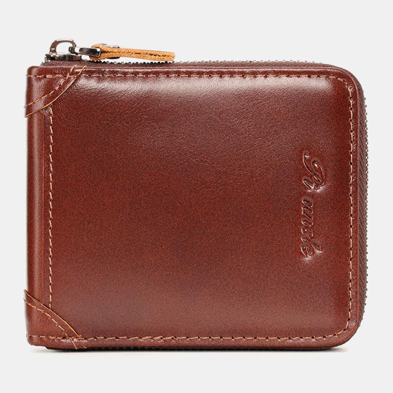 Men Mini Genuine Leather Zipper Wallet Bifold RFID Anti-theft Brush Short Money Clip Multi-card Slot Card Holder Coin Pu