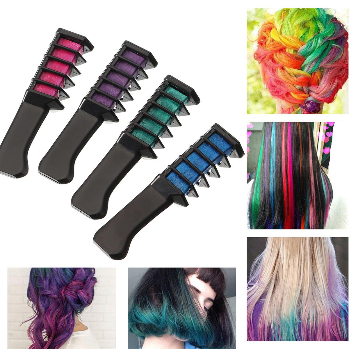 Temporary Dye Color Hair Chalk Soft Pastel Cream Comb Salon Hairbrush