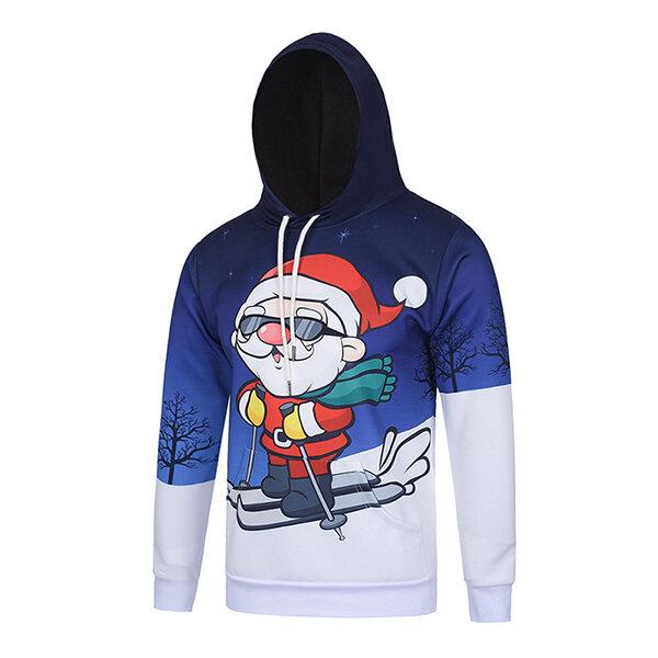 पुरुषों का क्रिसमस थीम्ड सांता स्कीइंग पैटर्न हुडेड स्वेटर पॉलिएस्टर क्रीज़ प्रतिरोधी पुलओवर