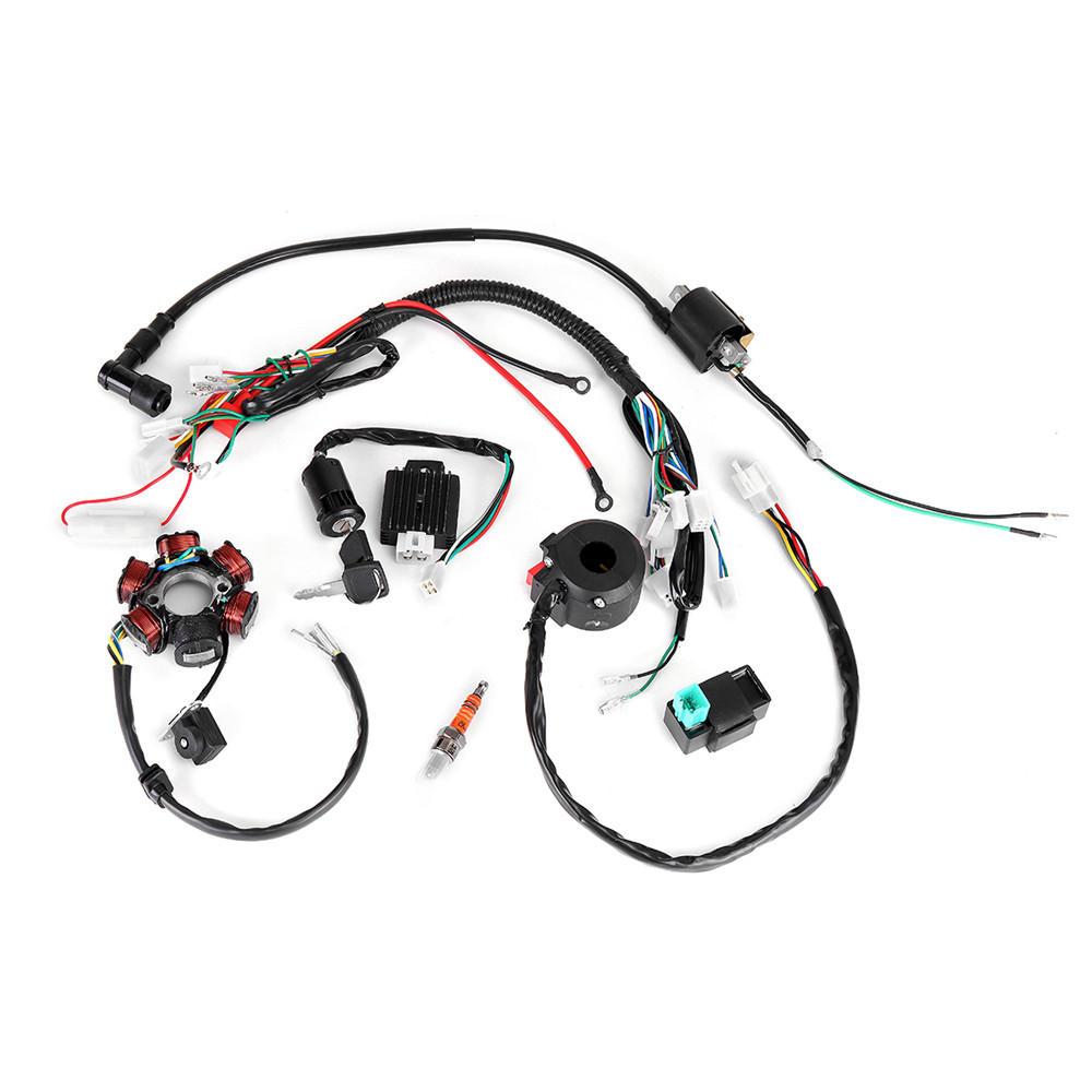 50cc-125cc mini atv complete wiring harness cdi stator 6 coil pole ignition  electric cod