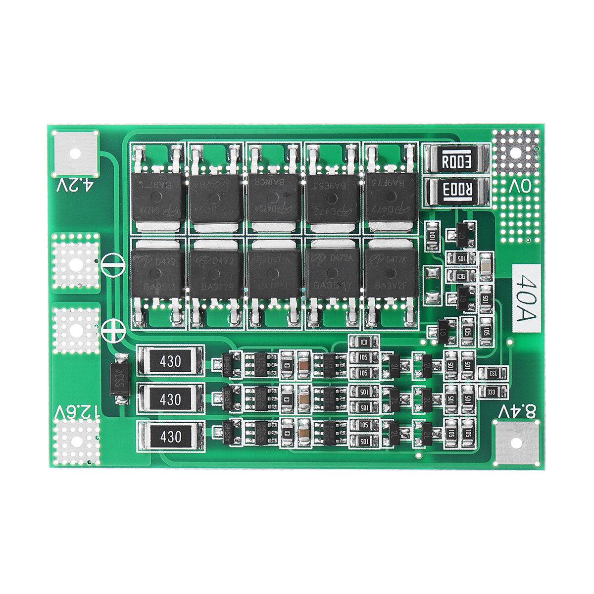 3S 40A Li-ion Litio Batería Placa de protección del cargador PCB BMS Para Taladro motor 11.1 V 12.6 V Módulo de célula lipo con equilibrio