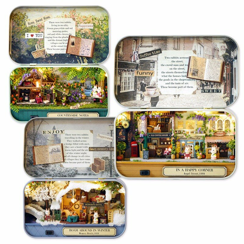 Cuteroom Old Times Trilogy DIY Box Theatre Dollhouse Miniature Tin Box Doll House With LED Light Extra Gift