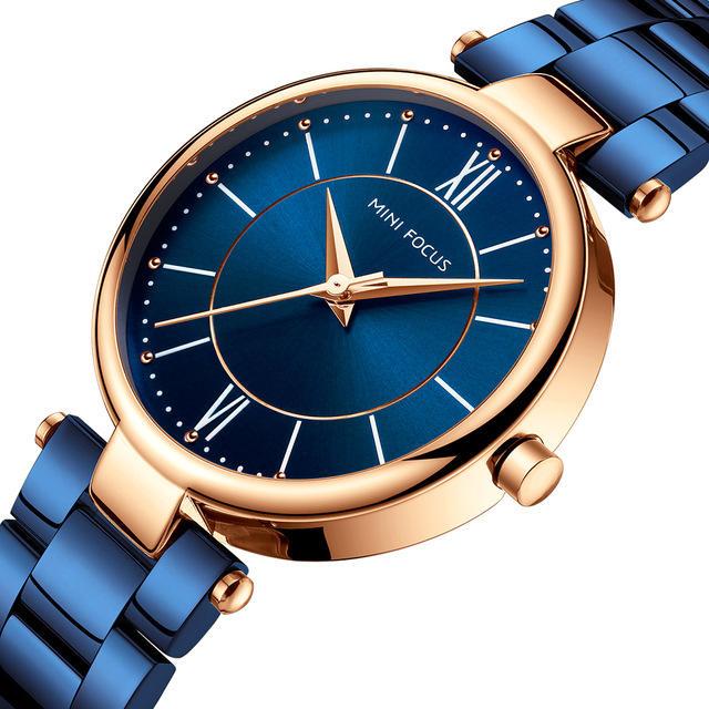 MINI FOCUS MF0189L reloj de pulsera de moda Mujer reloj de pulsera de cuarzo de acero inoxidable Impermeable