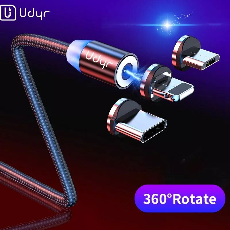 Udyr 3A LED Magnetic Micro USB Type C Fast Charging Data Cable for Samsung Galaxy S21 Note S20 ultra Huawei Mate40 P50 O
