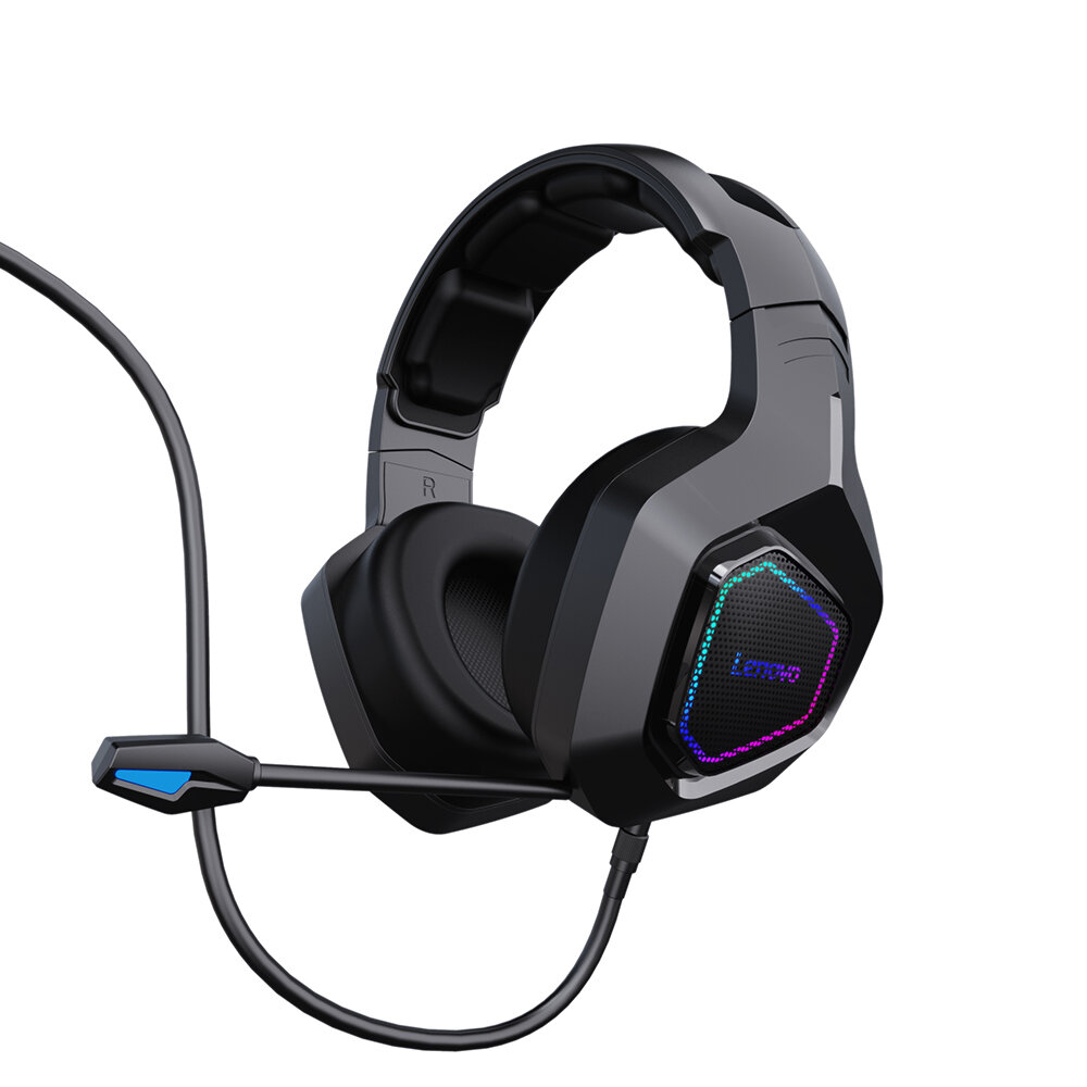 Lenovo G50 Wired Headset 7.1 Stereo Blue Light Over-Ear Gaming Headphone with Mic Noise Canceling USB For for Laptop Com