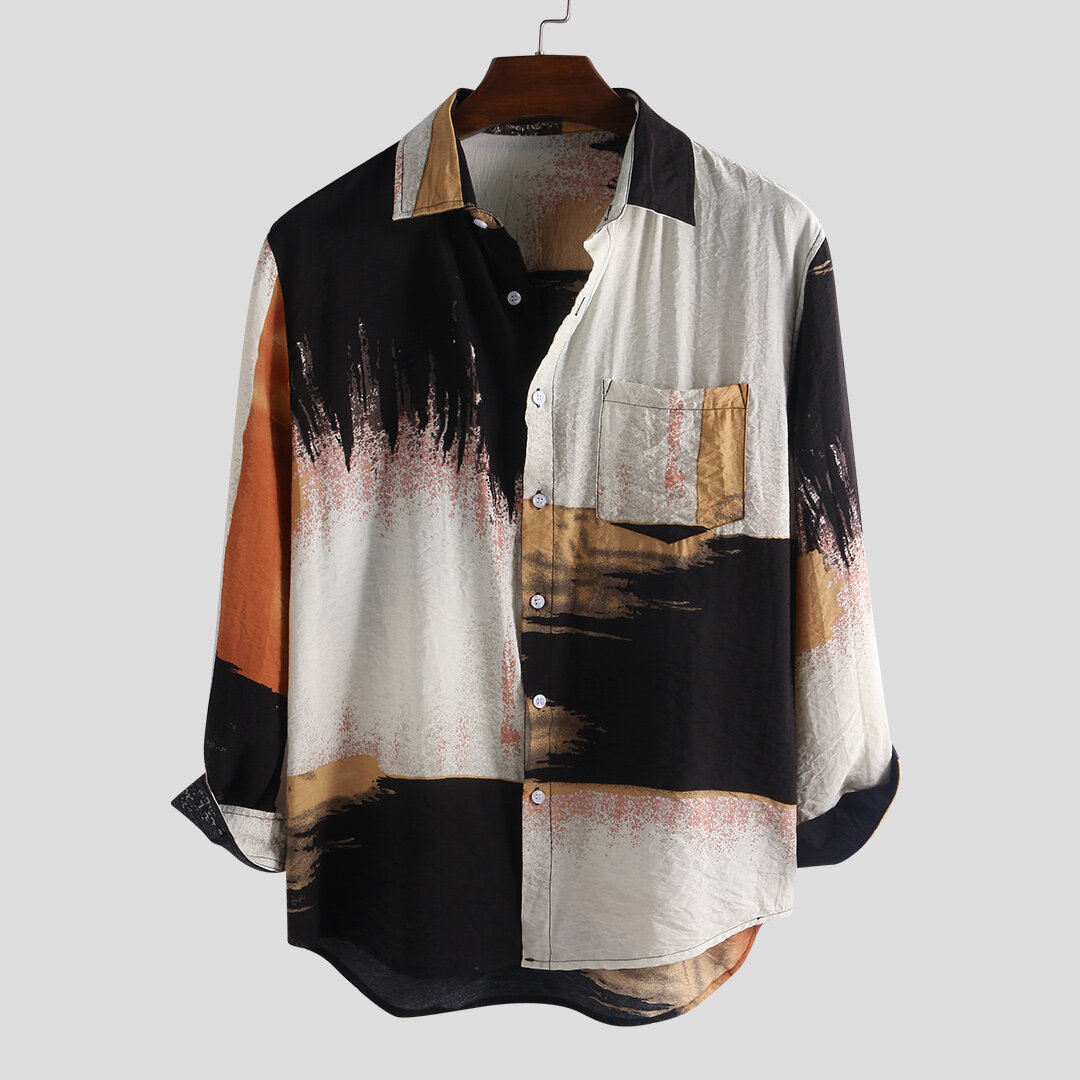 Mens Autumn 100% Cotton Pocket Tie Dyeing Long Sleeve Casual Shirts