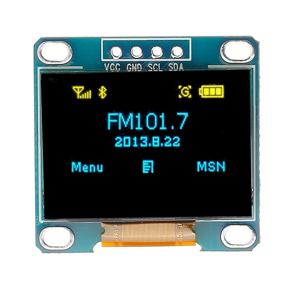 5Pcs 0.96 Inch Blue Yellow IIC I2C OLED Display Module Geekcreit for Arduino - products that work with official Arduino