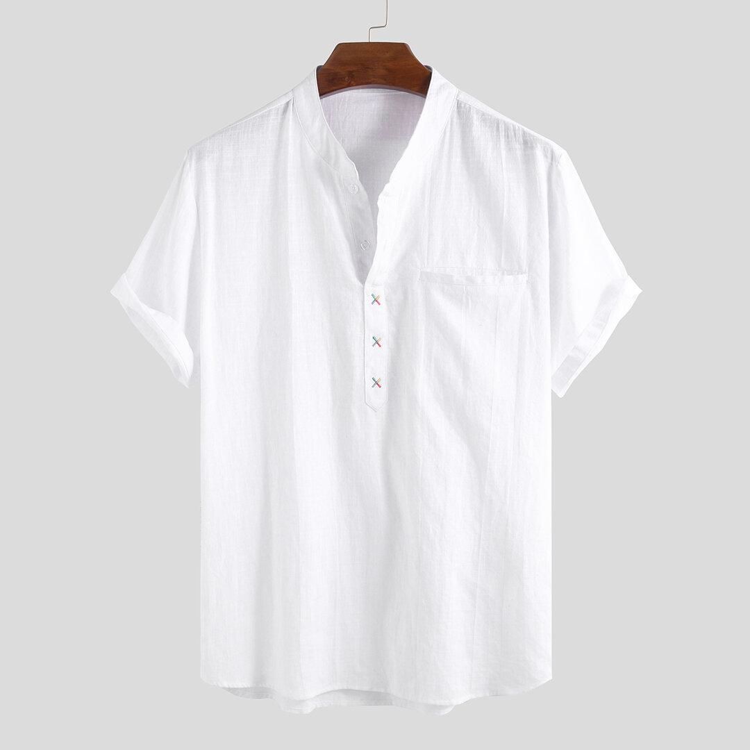 Đàn ông 100% cotton đứng cổ áo tươi giản dị giản dị Áo thun ngắn tay