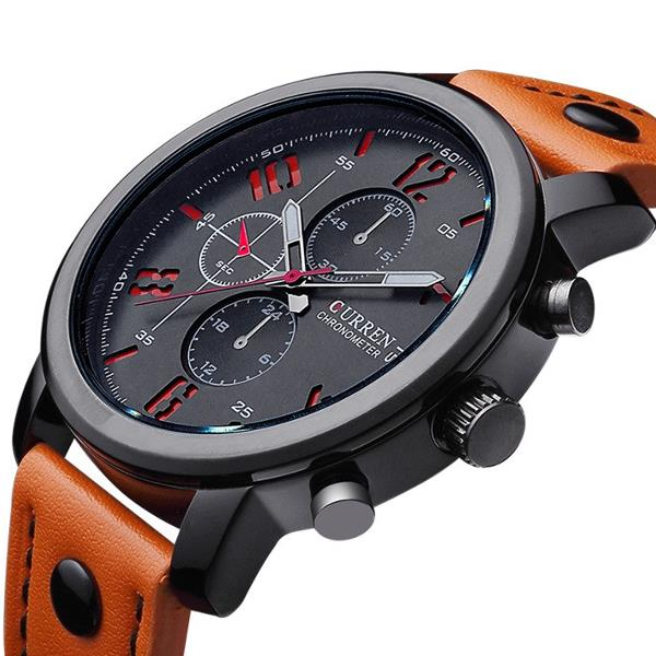 CURREN 8192 Fashion Leisure Sportsman Läder Svart Alloy Analog Quartz Armbandsur