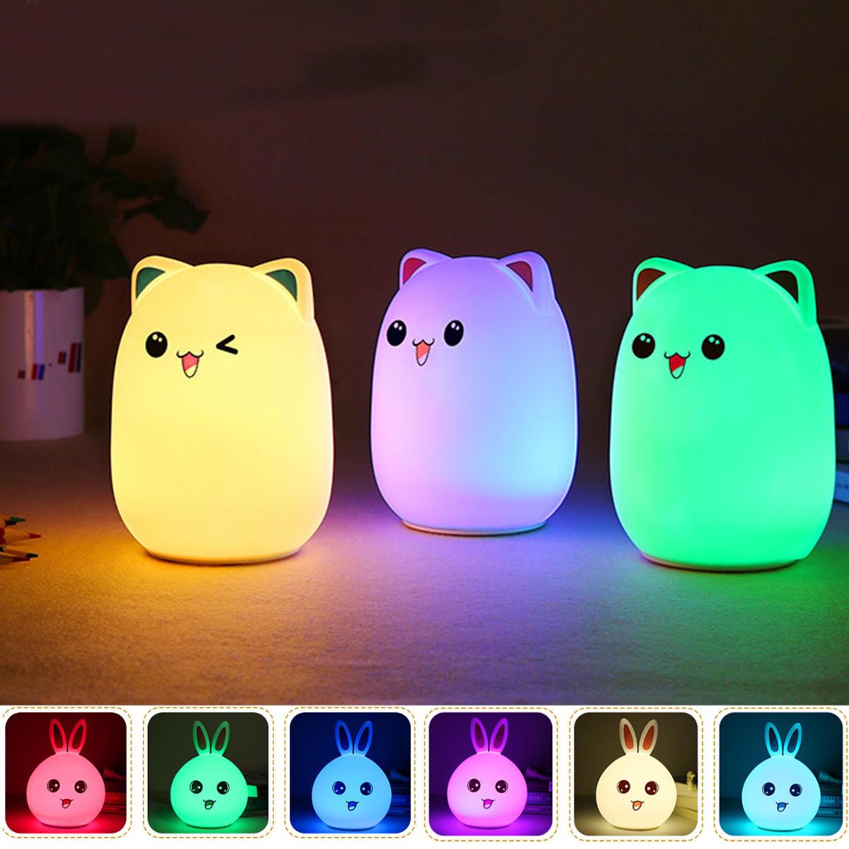LED Lampu Malam Kecil Lampu Tidur Kamar Bayi Kelinci Lampu Anak-anak Beruang Tidur Lampu