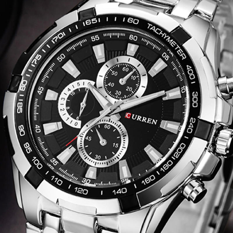 CURREN 8023 Fashion Men Style Watch Waterproof Fake Three Dials Analog Quartz Watch