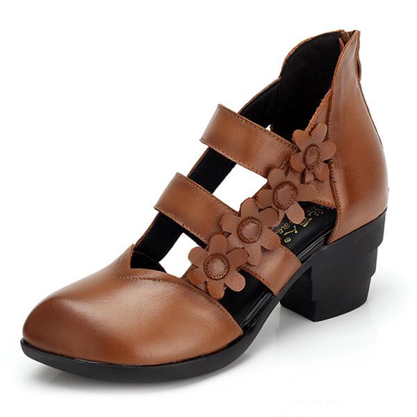 SOCOFY Zipper Genuine Leather Retro Casual Flower Pumps Sandals
