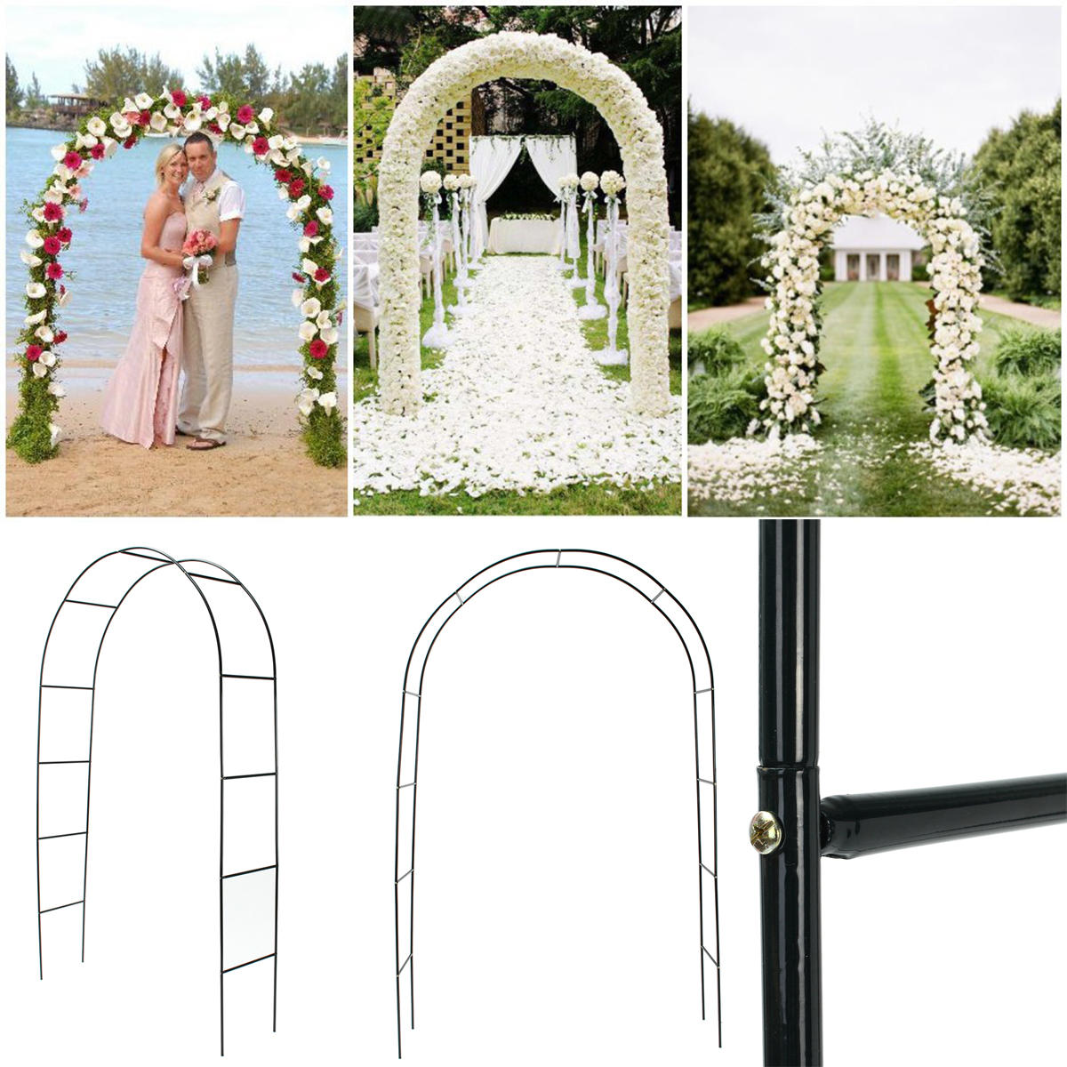 """95"""" Iron Arch Way Assemble Door Wedding Party Bridal Prom Garden Floral Decorations"""