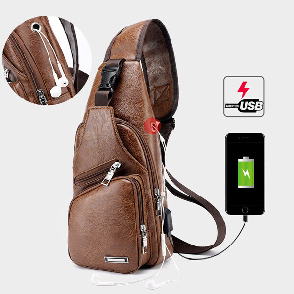 Men Outdoor Shoulder Resistant Anti Theft Chest Bag Travel Daypack with USB Charging Port