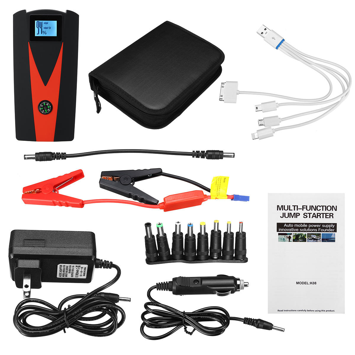 99900 Mah Dual Usb Car Jump Starter Lcd Auto Battery Booster Portable Power Pack With Jumper Cables
