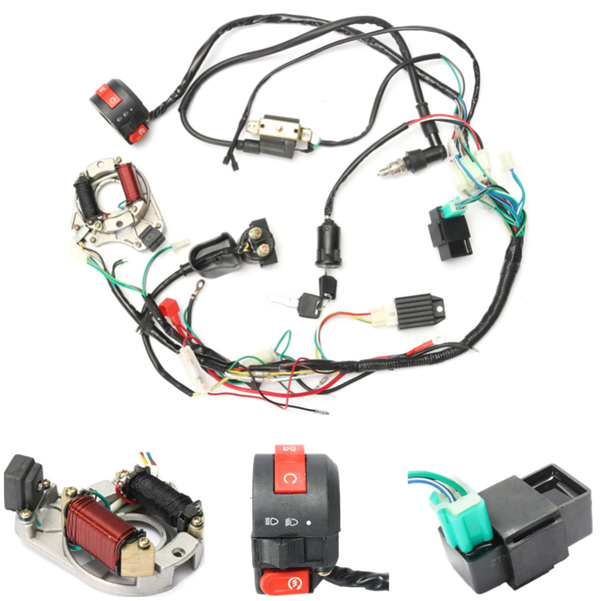 50cc 70cc 90cc 110cc CDI Wire Harness embly Wiring Kit ATV Electric Magic Power Boat Wiring Schematic on