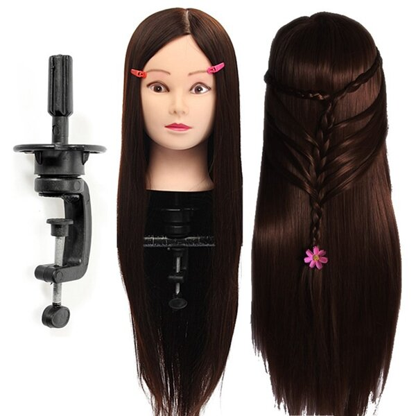 30% Real Human Hair Hairdressing Training Mannequin Dark Brown Practice Head Clamp Salon Profession