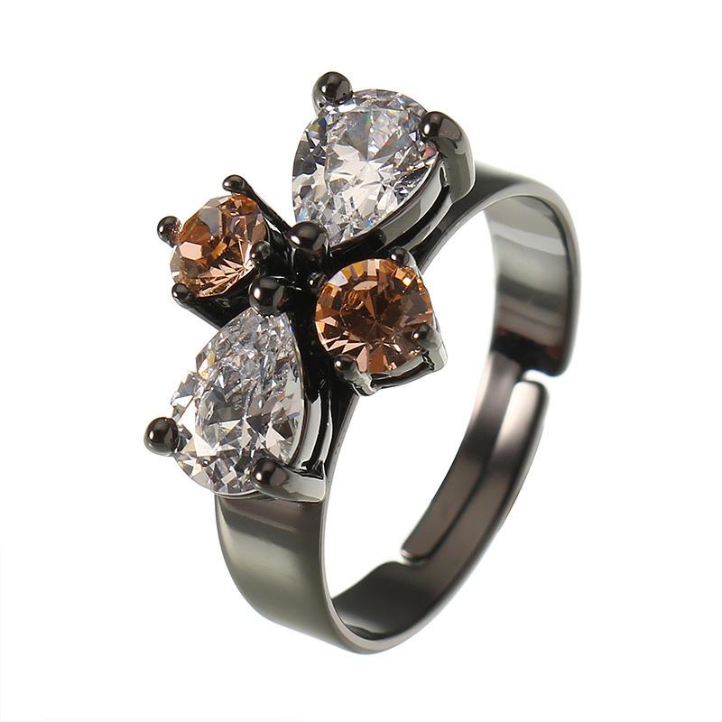 JASSY® Punk Adjustable Ring Gun Black Plated Classic Gemstone Finger Ring Anallergic Gift for Women