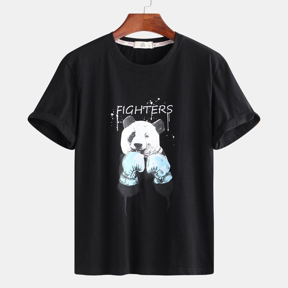 Mens Panda Impresión de camisetas casuales de verano Plus Tamaño Tees