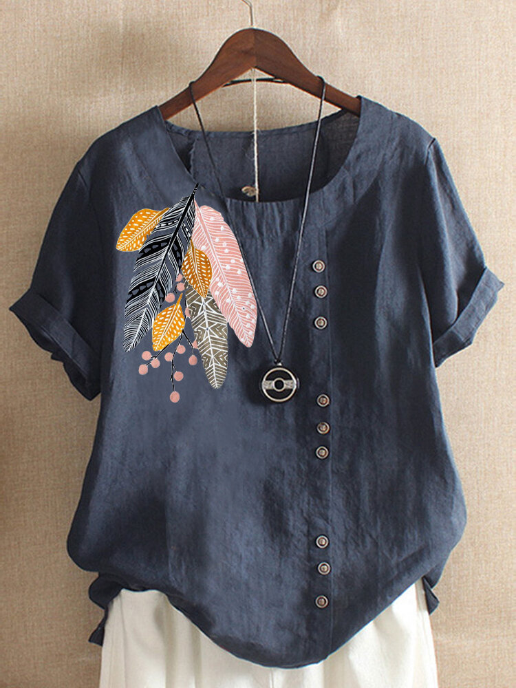 Women Bohemian Printed Leaves Buttons Short Sleeve T-Shirts
