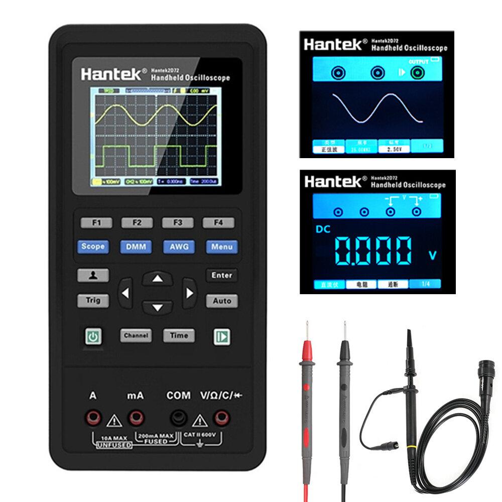 Hantek Osciloscopio digital 3 en 1 + Generador de forma de onda + Multímetro USB portátil 2 canales 40 mhz 70 mhz LCD Pantalla Medidor de prueba herramientas Potencia ultra baja Diseño Con litio de gran capacidad Batería AUTO