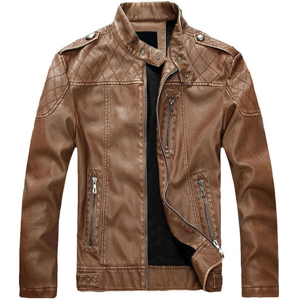 30e068fa6 Mens Winter Thick PU Leather Jacket Stand Collar Zipper Motorcycle Coat