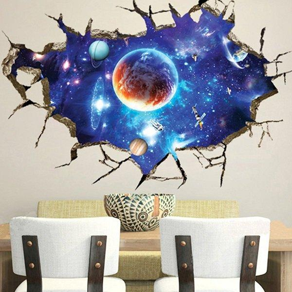 Banggood & 3D Sticker Outer Space Wall Stickers Home Decor Mural Art Removable Galaxy Wall Decals