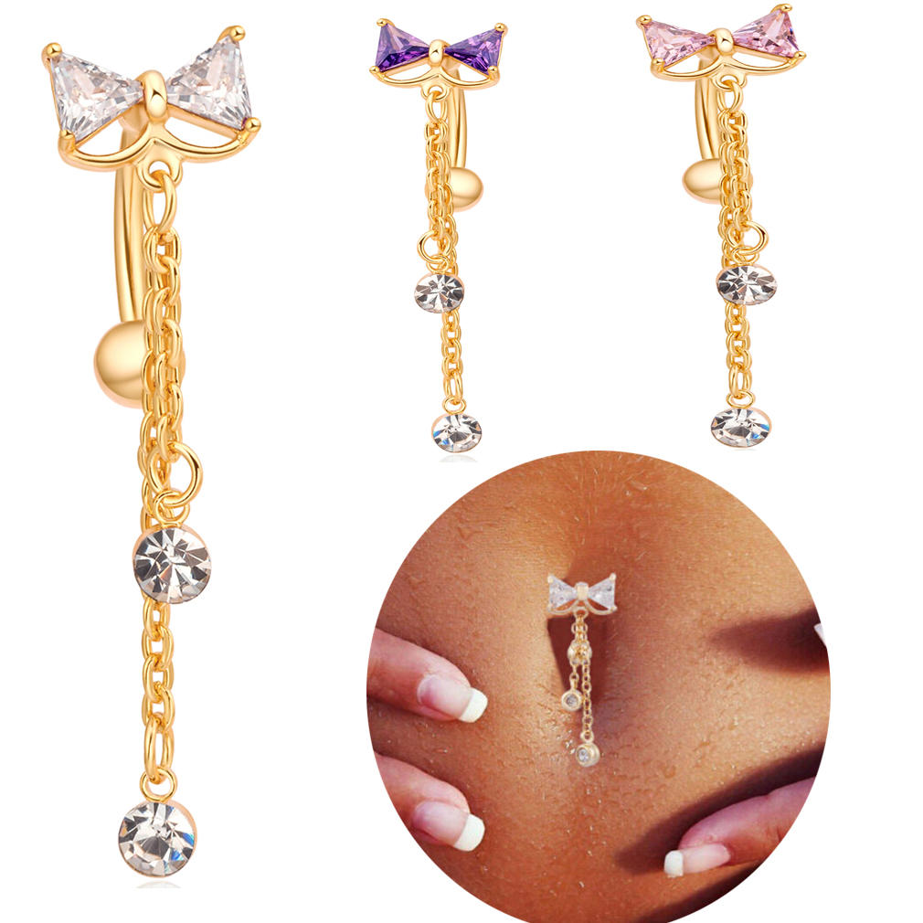 Elegant Bowknot Belly Ring Tassel Rhinestone Navel Belly Piercing Ring For Women
