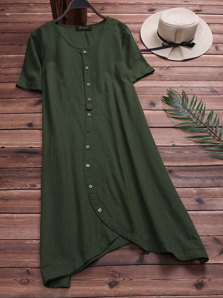 Women Casual Asymmetrical Short Sleeves Cotton Dress