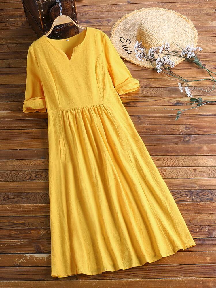 Kadınların gündelik saf renk v yaka pamuklu keten yarım kol Elbise