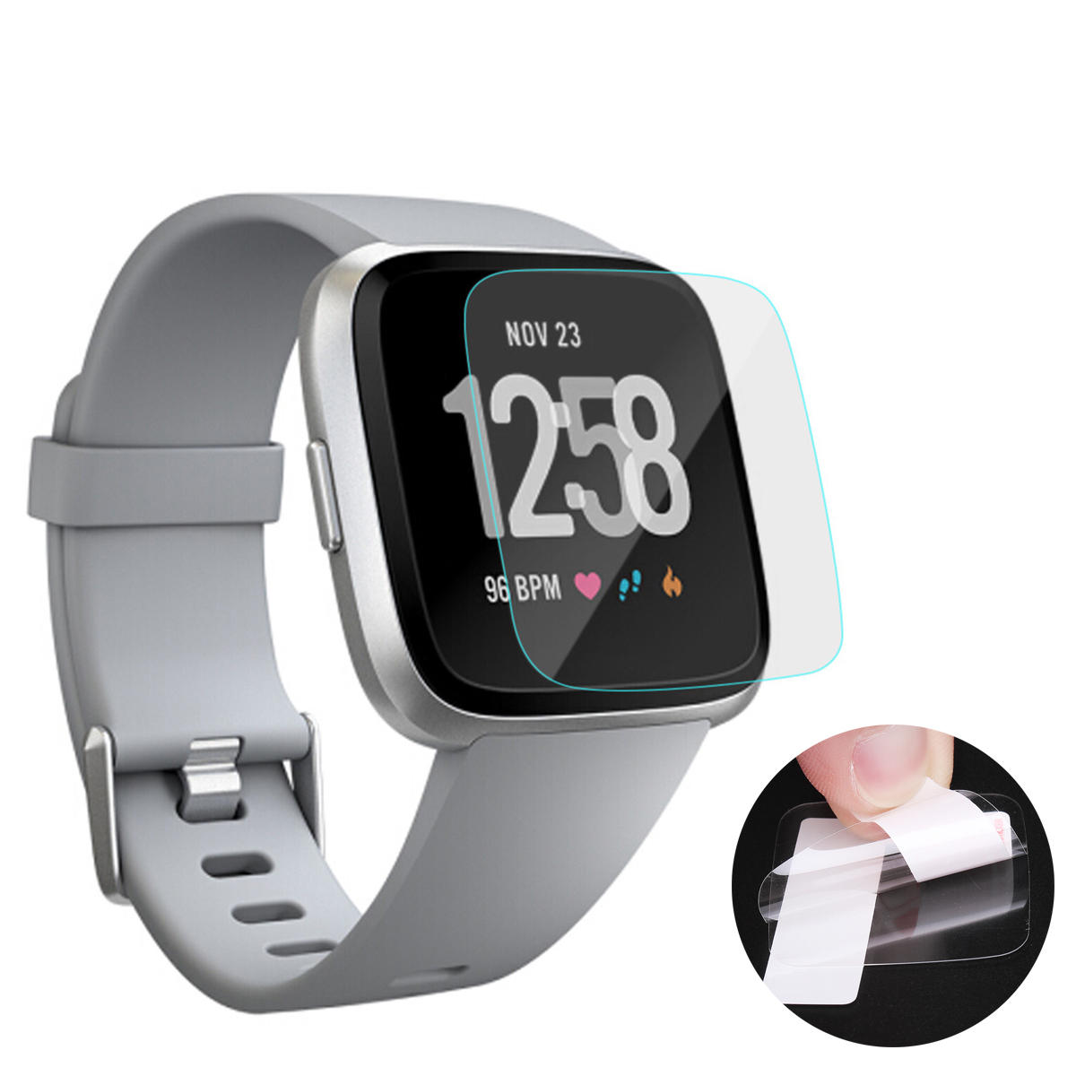 3PCS Crystal Clear HD Anti-Scratch Smart Watch Screen Protector Film for Fitbit Versa