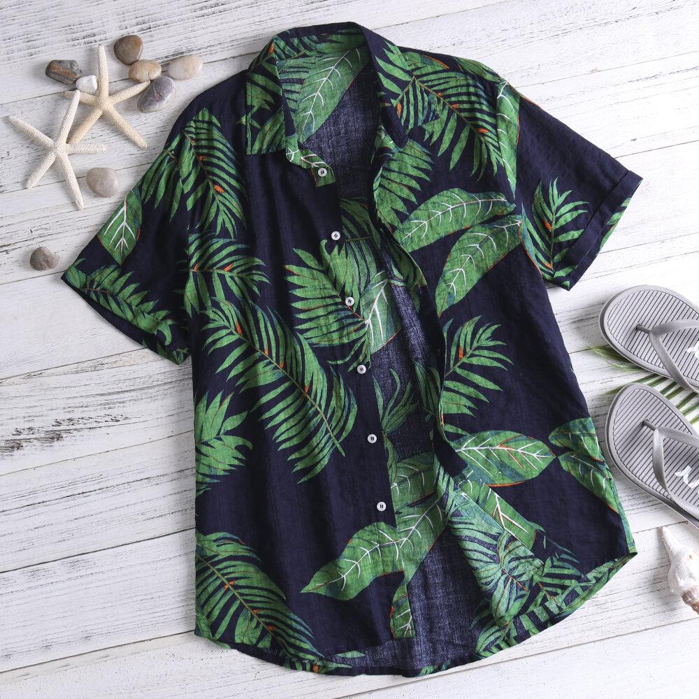 TWO-SIDED Mens Palms Printing Hawaiian Style Casual Beach Shirts