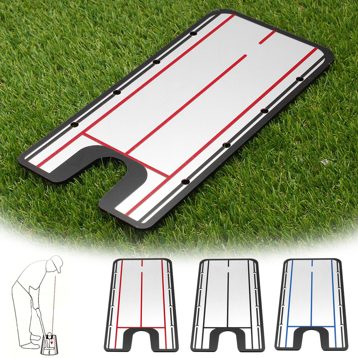 Acrylic Golf Putting Mirror Aid SwingTrainer Alignment Training Line Practice Tool