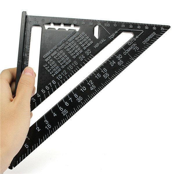 राइटूल ™ एआर 01 260x185x185 मिमी मीट्रिक एल्यूमिनियम मिश्र धातु त्रिभुज शासक काला त्रिकोणीय नियम