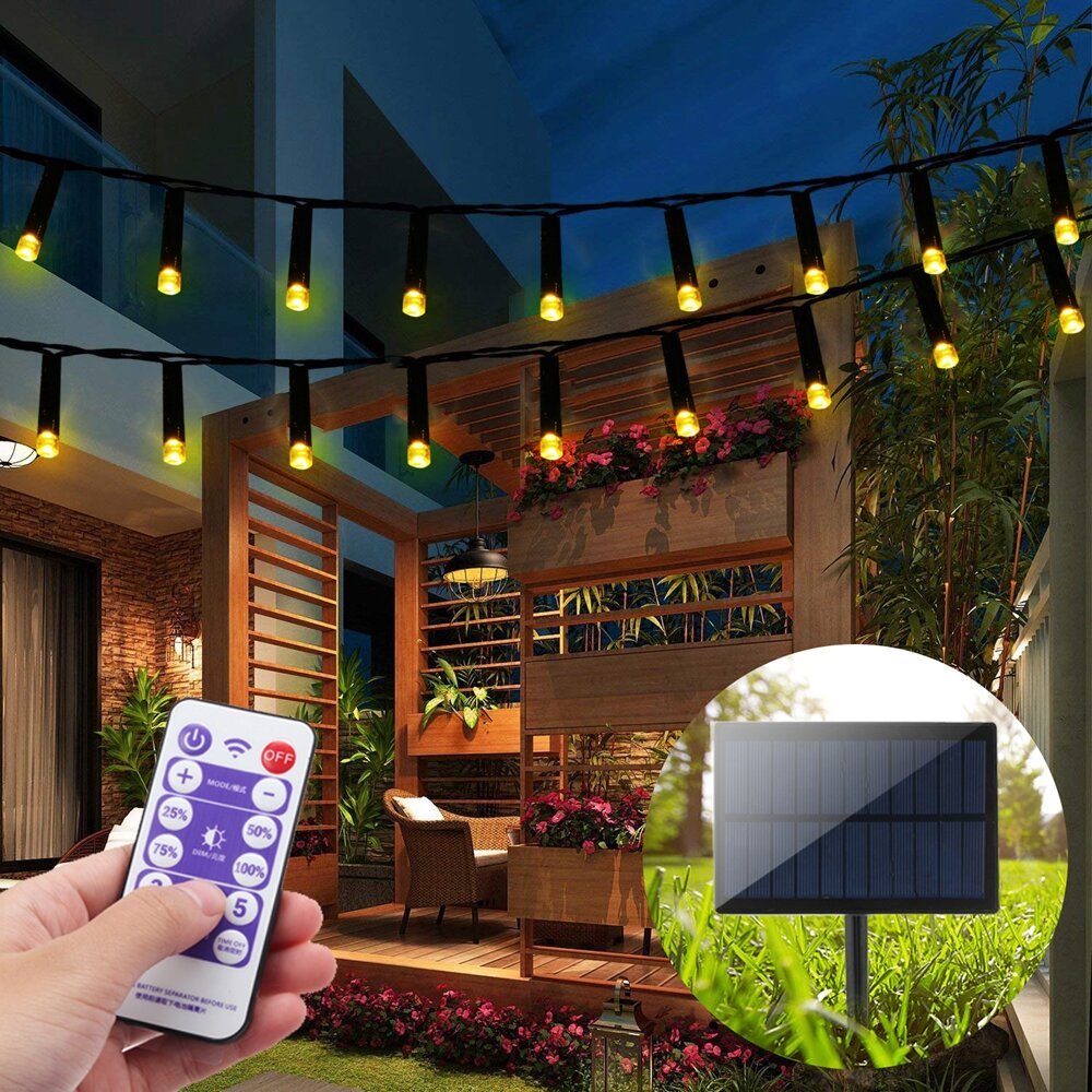 200LED XMAS Solar Powered Garden Fence Fairy String Lights Outdoor Party Decor