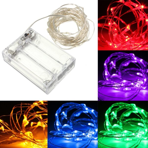 5M 50 LED Silver Wire Fairy String Light Battery Powered Waterproof Xmas Party Decor