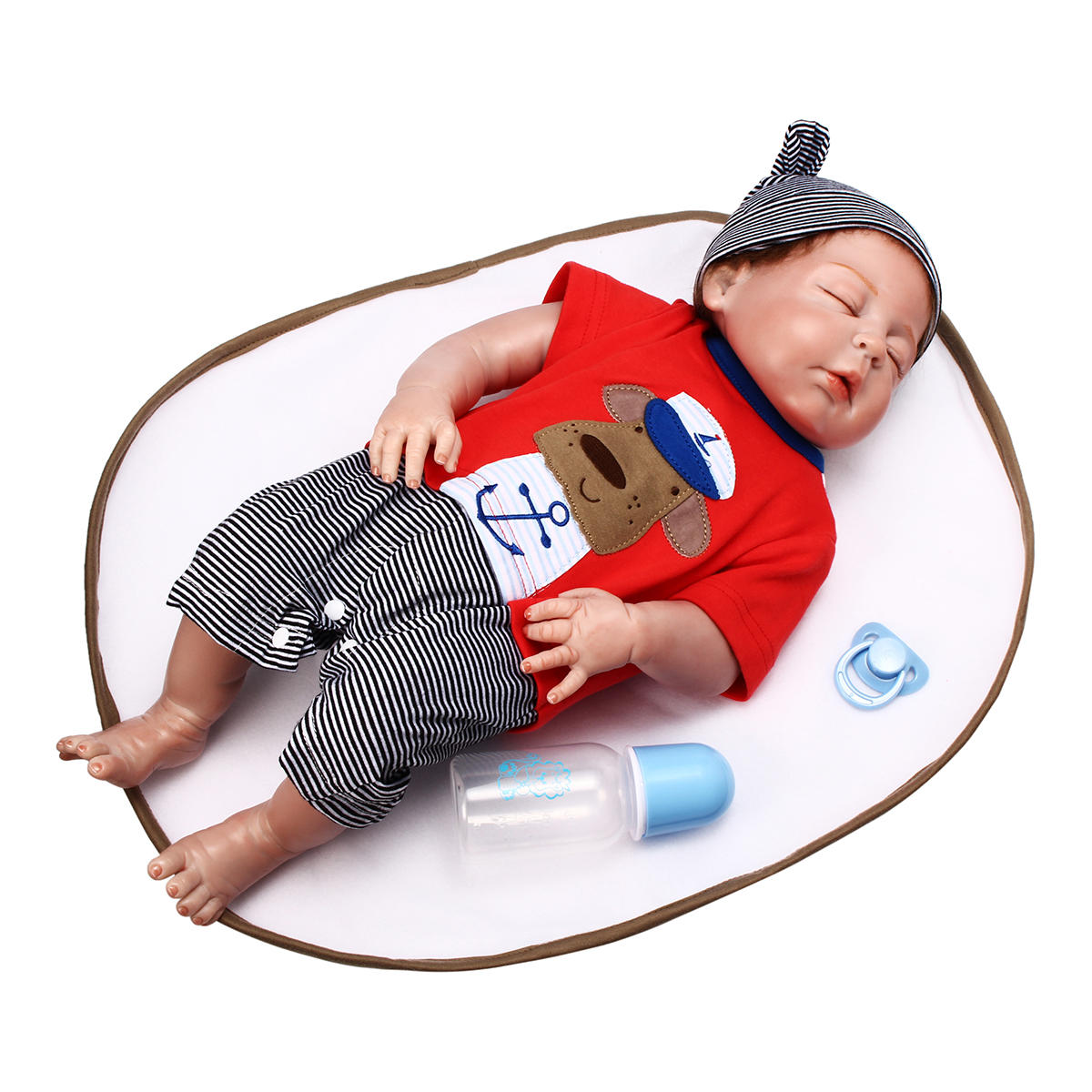 NPK 23 Inch 58cm Reborn Baby Sleeping Soft Silicone Doll Handmade Lifeike Baby Girl Dolls Play House Toys Birthday Gift